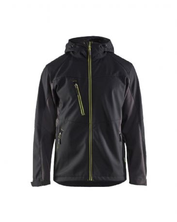 Blaklader 4753 Softshell Jacket With Hood  (Black/Yellow)